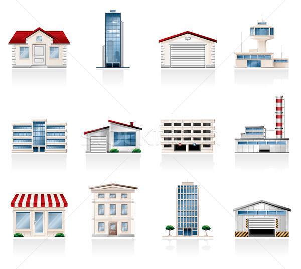 Edifícios ícones edifício arquitetura armazenar arranha-céu Foto stock © zelimirz