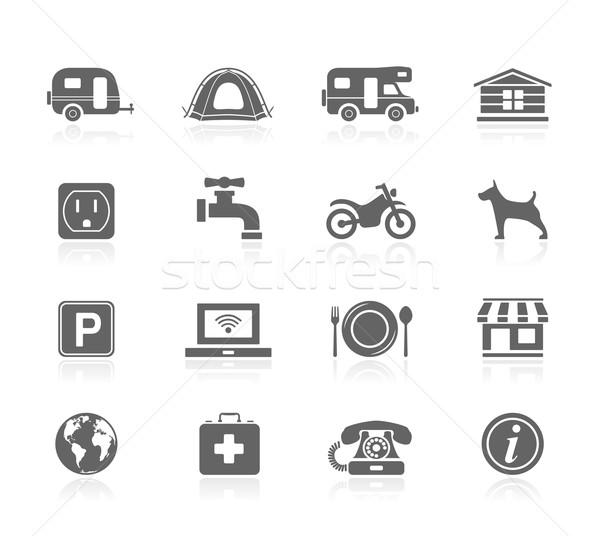 Preto ícones camping laptop telefone assinar Foto stock © zelimirz
