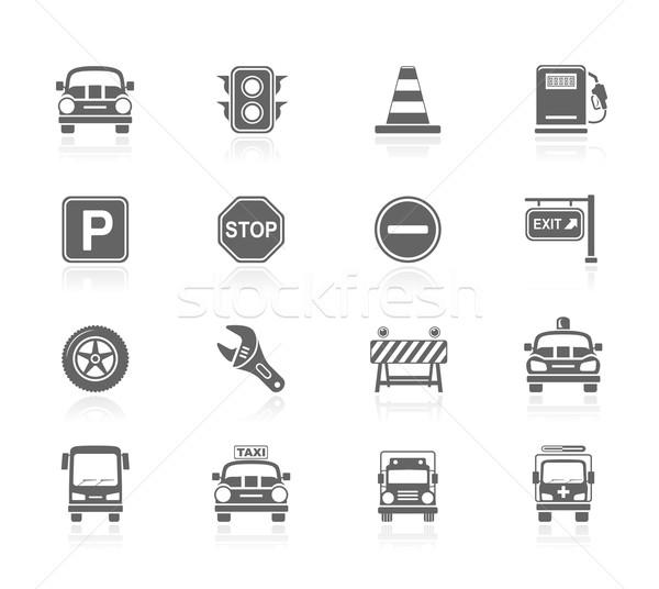 Zwarte iconen verkeer auto weg bouw Stockfoto © zelimirz