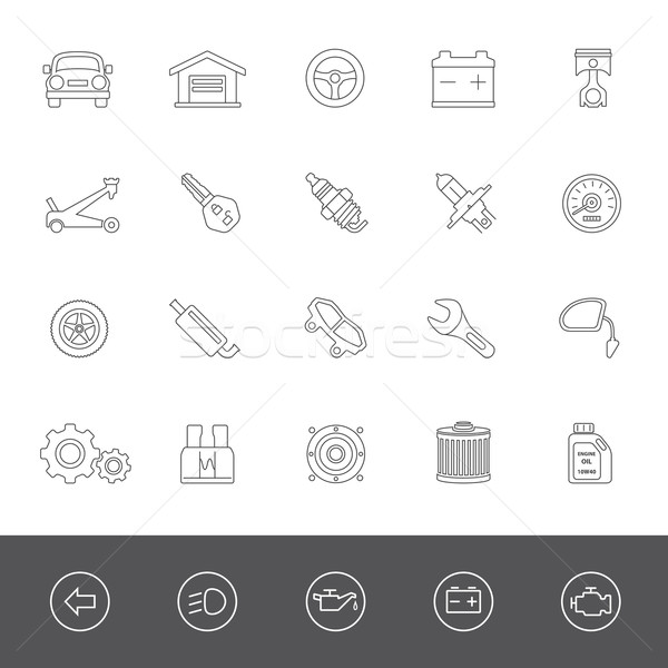 Lijn iconen auto onderdelen onderhoud spreker Stockfoto © zelimirz