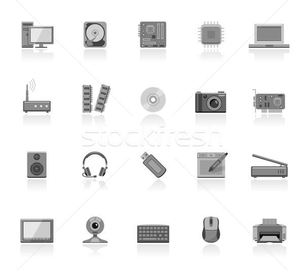 Computador ícones laptop mouse Foto stock © zelimirz
