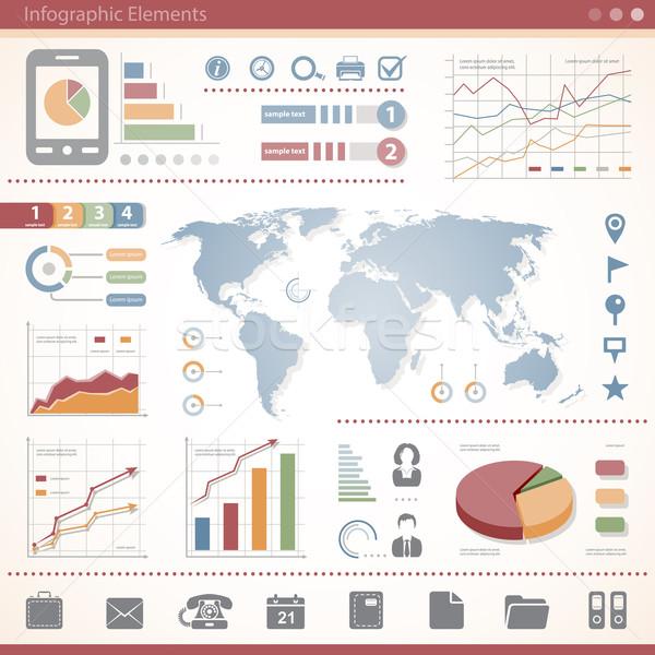 Communie business telefoon grafiek map Stockfoto © zelimirz