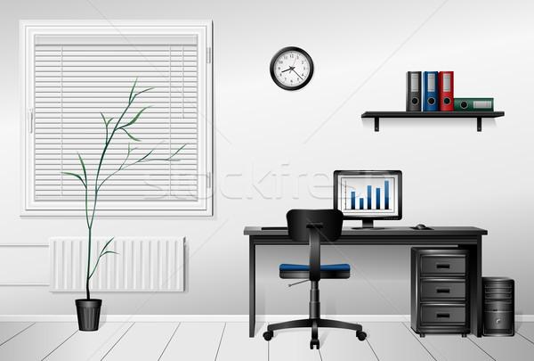 Escritório interior negócio computador relógio janela Foto stock © zelimirz