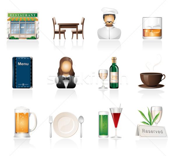 Restaurant iconen wijn koffie stoel Stockfoto © zelimirz