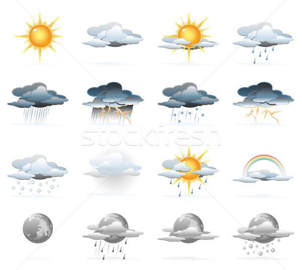 Wetter Symbole Sonne schwarz Wolke Stock foto © zelimirz