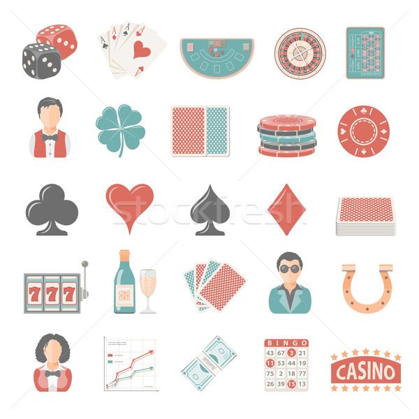 ícones jogos de azar dinheiro cassino cartões numerário Foto stock © zelimirz