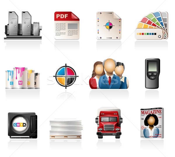 Offset Printing Icon Set Stock photo © zelimirz
