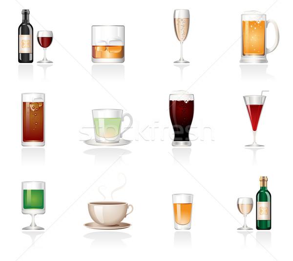 Drinken iconen wijn bier thee Stockfoto © zelimirz
