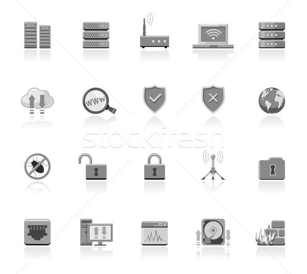 Netwerk iconen laptop technologie veiligheid Stockfoto © zelimirz