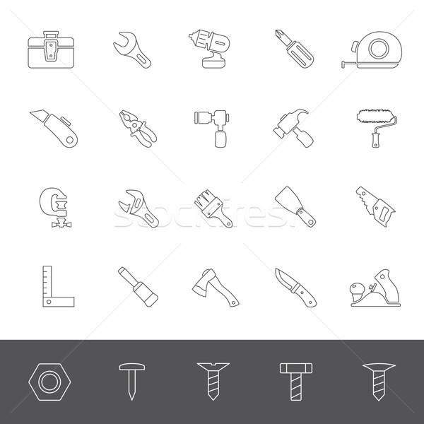 Linha ícones ferramentas mão avião faca Foto stock © zelimirz