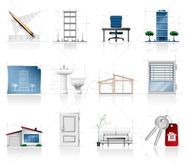 Arquitetura ícones imóveis casa construção tabela Foto stock © zelimirz