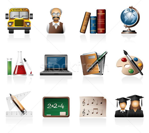 Onderwijs iconen boeken student leraar Stockfoto © zelimirz