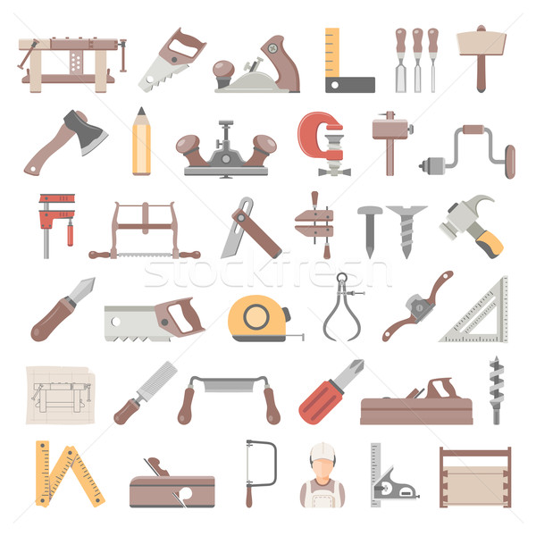 Flat Icons - Traditional Woodworking Stock photo © zelimirz