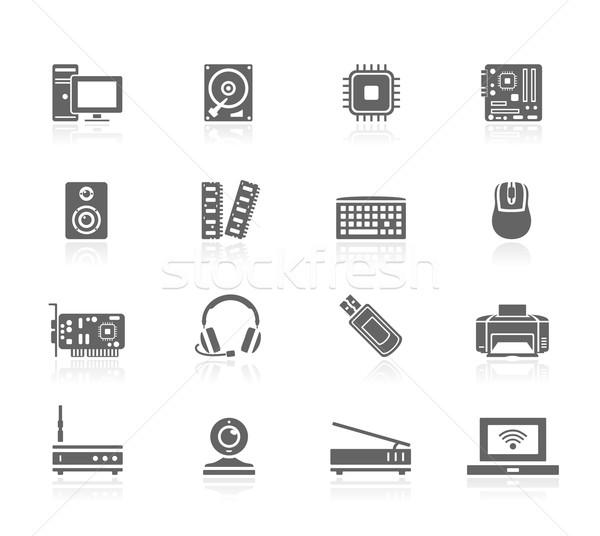 Сток-фото: черный · иконки · компьютер · ноутбука · мыши