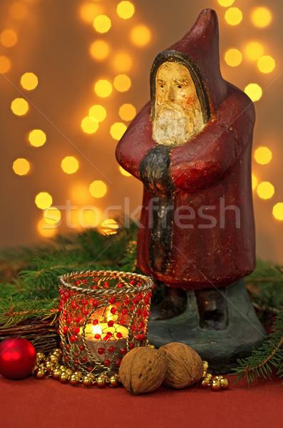 Karácsony dekoráció mikulás szobrocska zöld labda Stock fotó © Zerbor