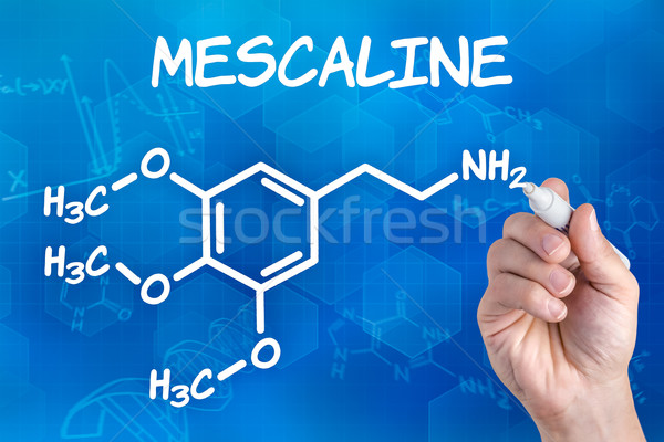 hand with pen drawing the chemical formula of mescaline Stock photo © Zerbor