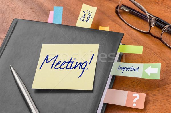 Tervező öntapadó jegyzet megbeszélés üzlet munka toll Stock fotó © Zerbor
