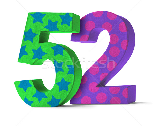 Colorful Paper Mache Number on a white background  - Number 52 Stock photo © Zerbor