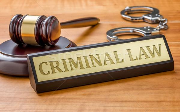 Martillo nombre placa criminal ley Foto stock © Zerbor