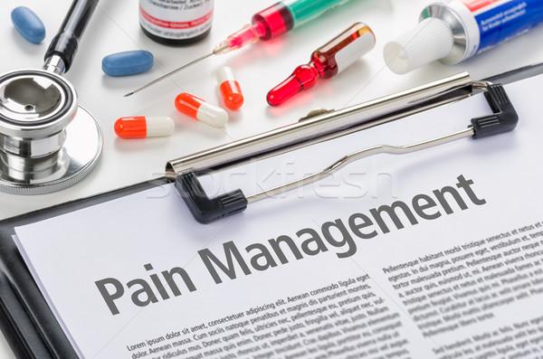 Pijn beheer geschreven ziekenhuis geneeskunde Stockfoto © Zerbor