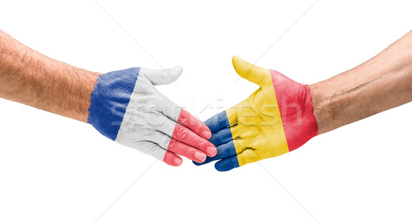 Football teams - Handshake between France and Romania Stock photo © Zerbor