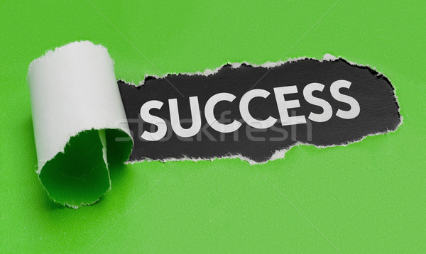 Torn green paper revealing the word Success Stock photo © Zerbor