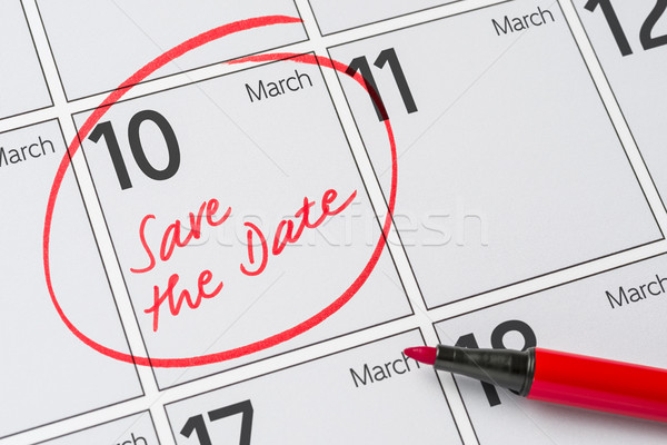 Guardar fecha escrito calendario 10 fiesta Foto stock © Zerbor