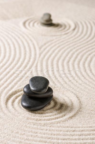 Foto stock: Japonés · zen · jardín · rock · negro · patrón