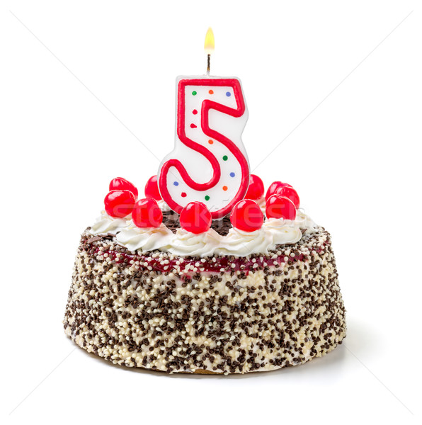 Birthday cake with burning candle number 5 Stock photo © Zerbor
