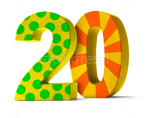 Stock photo: Colorful Paper Mache Number on a white background  - Number 20