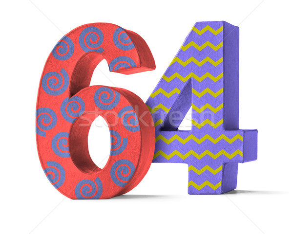 Colorful Paper Mache Number on a white background  - Number 64 Stock photo © Zerbor