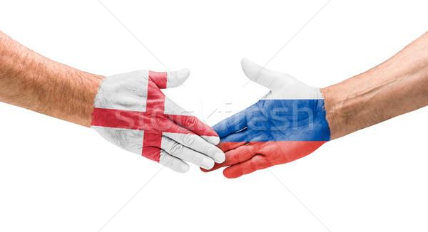 Calcio squadre stretta di mano Inghilterra Russia mano Foto d'archivio © Zerbor