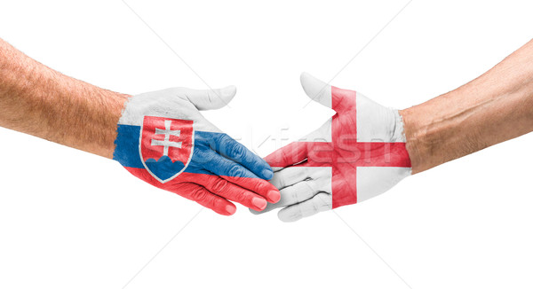 Football équipes handshake Slovaquie Angleterre main Photo stock © Zerbor