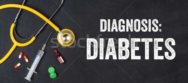 Stethoscope and pharmaceuticals on a blackboard - Diabetes Stock photo © Zerbor