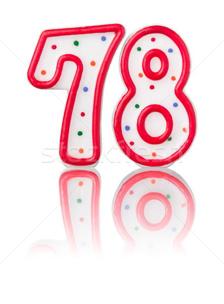 Red number 78 with reflection on a white background Stock photo © Zerbor