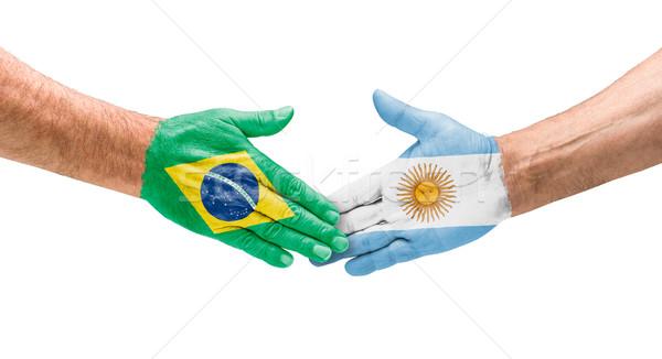 Handshake Brésil Argentine main réunion sport Photo stock © Zerbor