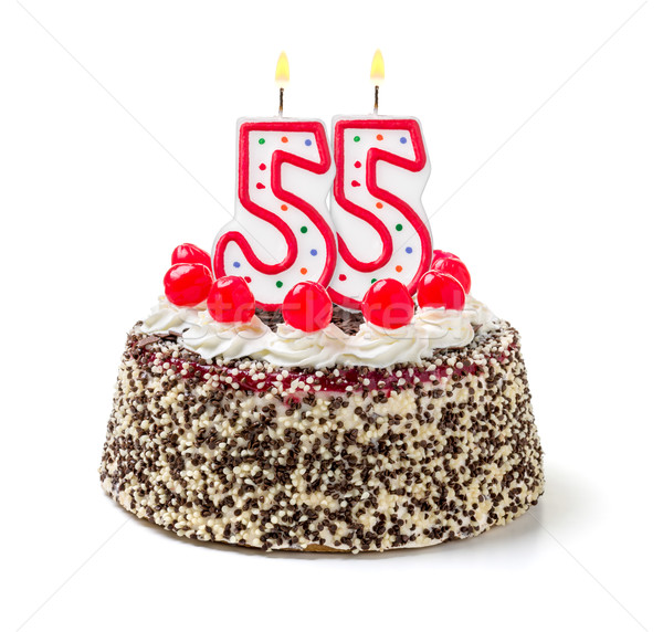 Birthday cake with burning candle number 55 Stock photo © Zerbor