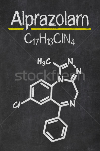 Blackboard with the chemical formula of Alprazolam Stock photo © Zerbor