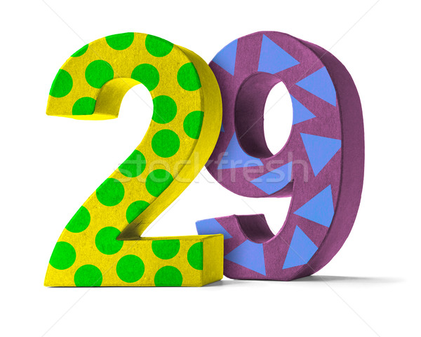 Colorful Paper Mache Number on a white background  - Number 29 Stock photo © Zerbor