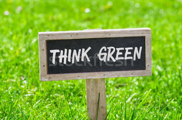 Sign on a green lawn - Think green Stock photo © Zerbor
