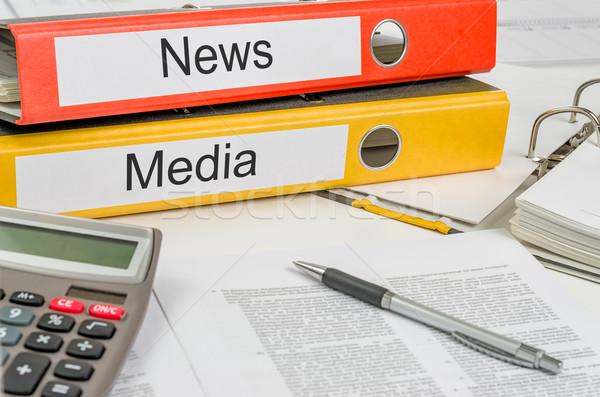 Stock fotó: Mappák · címke · média · pénz · papír · újság