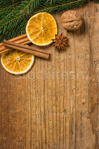 Wooden background with Christmas decorations Stock photo © Zerbor