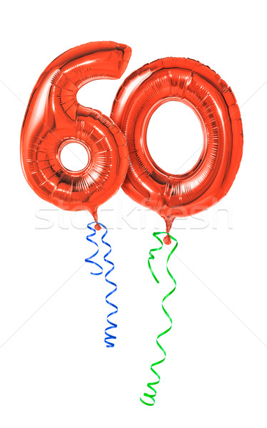 Red balloons with ribbon - Number 60 Stock photo © Zerbor