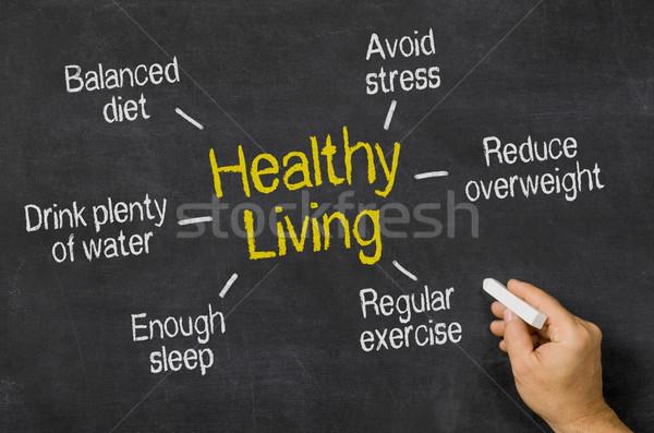 Sağlıklı yaşam su gıda el yazı egzersiz Stok fotoğraf © Zerbor