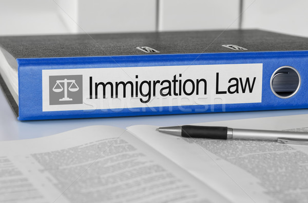 Blue folder with the label Immigration Law Stock photo © Zerbor