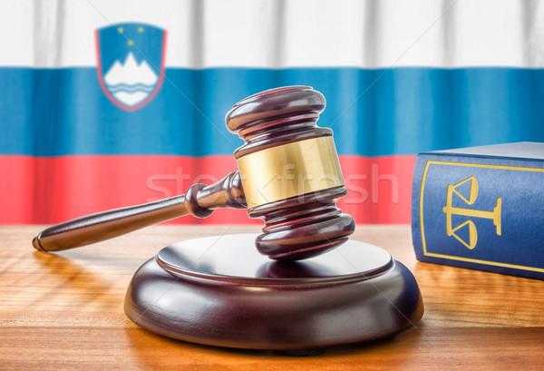 молоток прав книга Словения флаг правосудия Сток-фото © Zerbor
