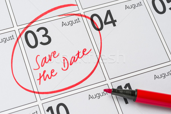 Save the Date written on a calendar - August 03 Stock photo © Zerbor
