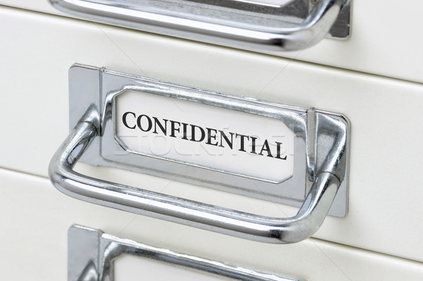 Cajón etiqueta confidencial negocios metal Foto stock © Zerbor