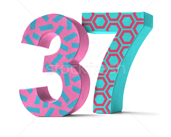 Colorful Paper Mache Number on a white background  - Number 37 Stock photo © Zerbor