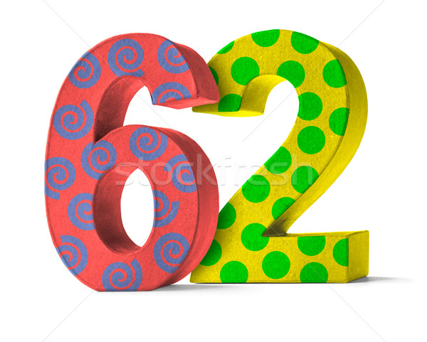 Colorful Paper Mache Number on a white background  - Number 62 Stock photo © Zerbor